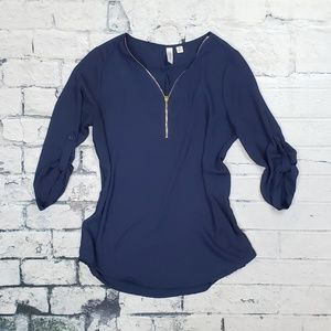 Tops - Navy ¾ sleeve Dress Top W/ Gold Zipper Detail